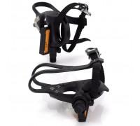 Педалі контактні XLC PD-R01, 392 гр, чорні, з ремінцями і туліпсамі