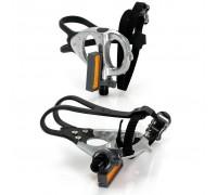 Педали контактные XLC PD-R02, 420 гр, серебристые, с ремешками и тулипсами