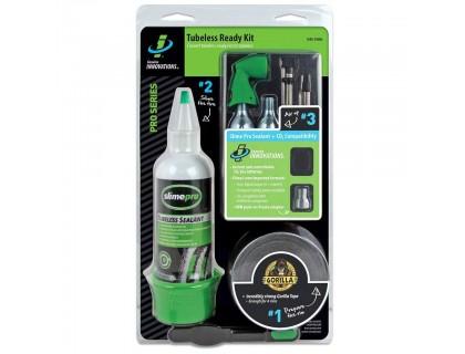 Ремкомплект для бескамерных покрышек (Герметик, уплотнительная лента, балон СО2(2шт), клапан для СО2 ), Slime | Veloparts