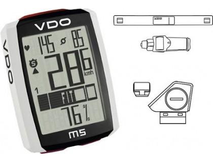 Велокомп'ютер VDO M5 WL бездротовий, +датчик пульсу та педалювання чорно-білий | Veloparts
